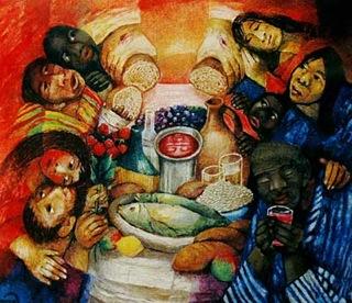 """Motiv 3 """"Das Mahl"""" aus dem Misereor-Hungertuch """"Hoffnung den Ausgegrenzten"""" von Sieger Köder (C) 1996 MVG Medienproduktion, Aachen www.misereor-medien.de"""